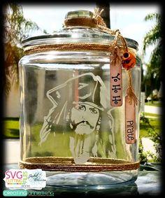 Arrggggg  Talk Like A Pirate Mini Blog Hop! Johnny Depp, Jack Sparrow, Jar of Dirt, Etched Glass cookie jar! Mason Jar Art, Mason Jar Crafts, Movie Decor, Movie Props, Glass Cookie Jars, Pirate Crafts, Flowers In Jars, Fairy Jars, Painted Jars