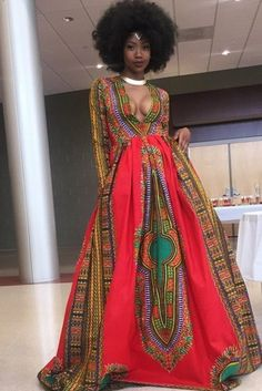 Dellytop Women African Print V Neck Dashiki Maxi Dress African Attire, African Dress, African Inspired Fashion, African Fashion, Stunning Prom Dresses, Gorgeous Dress, Ideias Fashion, Couture, How To Wear