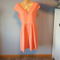 Lauren Conrad A-line Dress Peach A-line dress with lace detailing around the neck and back LC Lauren Conrad Dresses Mini