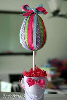 DIY Egg Shaped Ribbon Topiary by @Stacy{kinda}Crafty #DIYEaster #easter #eastertraditions #easterdecor