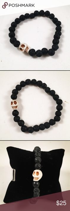 """Men lava rock and skull bracelet Men  bracelet. Handmade. Never worn by anyone. Fits most , 7.5 to 8.5 inch wrist. Made out of lava rocks and a white """" bone looking"""" skull charm Accessories Jewelry"""