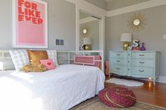 Pale blue French dresser, soothing colors.  Houzz: Fort Worth, TX: Misty Spencer - Eclectic - Bedroom - dallas - by Sarah Greenman