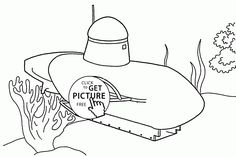 Small Submarine coloring page for kids, transportation coloring pages printables free - Wuppsy.com