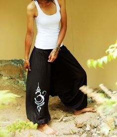 5dfd1ad0b80a2 Let your style breathe and find the flow in your workout with these zen  harem pants Harem Long Om Tattoo