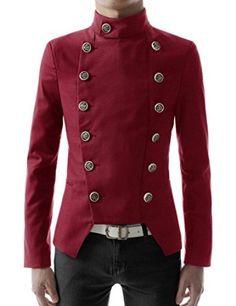 SteampunkMen8217sCoats Double Breasted High neck Slim fit Short Jacket  AT vintagedancer.com