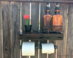 Toilet paper holder Rustic barn wood industrial by ThePinkToolBox