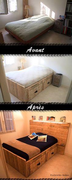 Lit en bois de palettes et tête de lit en bois de palettes réalisé par La Vie du Bois Bordeaux. Grands tiroirs de rangement intégrés! Amazing pallet bed  https://www.facebook.com/laviedubois.bordeaux