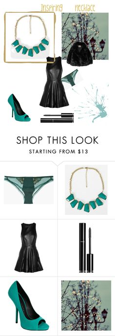 """""""Inspiring necklace"""" by lillicose ❤ liked on Polyvore featuring La Perla, BKE, rag & bone, Chanel, Giuseppe Zanotti, The Row, geometric jewelry, black, peacock and color trend"""