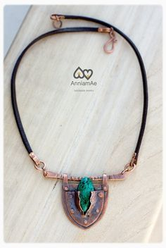 hand forged copper necklace with turquoise by AnniamAeDesigns