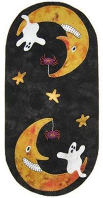 Lily Anna Stitches Boo Moon Mini Mat Wool Applique by RoosterCreek, $6.00