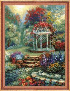 Цветочная беседка - Пейзажи, здания - Схемы вышивки - Иголка