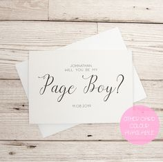 Usher proposal card will you be my usher personalised usher excited to share this item from my etsy shop page boy proposal card stopboris Images
