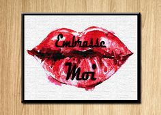 Kiss lips quote   Full res available for purchase on etsy.com   CK-printables