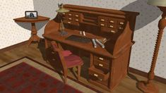 Furniture. Rolltop desk - 3D Warehouse
