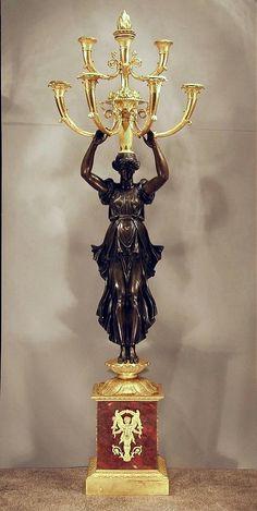 Large French Empire Bronze & Ormolu Palace Candelabra