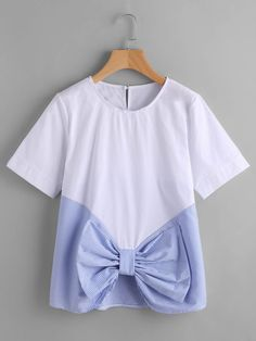 SheIn offers Contrast Striped Bow Front Keyhole Top & more to fit your fashionable needs. Teen Fashion Outfits, Trendy Outfits, Kids Outfits, Kids Fashion, Stylish Dress Designs, Stylish Dresses, Diy Clothes, Blouse Designs, Shirts