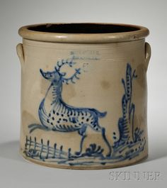 Stoneware Crock with Cobalt Deer Decoration, Haxstun, Ottman & Co. Antique Crocks, Old Crocks, Antique Stoneware, Stoneware Crocks, Primitive Antiques, Stoneware Clay, Primitive Bedroom, Primitive Homes, Primitive Country