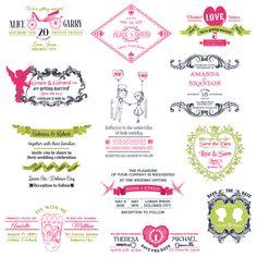 Vectores para boda:: Pack de vectores vintage para invitaciones de boda