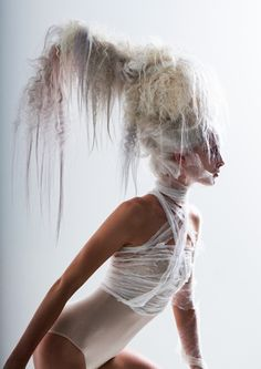 Avant-garde hair and fashion editorial – D. Machts Group/Berlin: elegance picture, white hair, art fashion, gymnast, hair magazine, hair-up, silhouette, beauty and elastic body, magic picture, trend, look forward, ballet, hair styling, pastel hair color, waterfall hair.