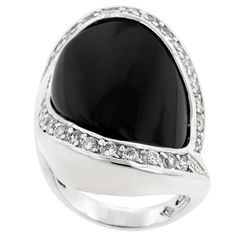 Pave Trimmed Onyx Ring