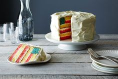 Give your guests a little suprise when they cut into this simple, white cake. Get the recipe on Food52. RELATED: 3 Beautiful Cakes Hiding Fun Surprises Inside   - CountryLiving.com
