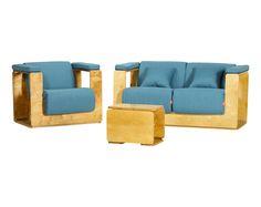 Oasis Folding Set / Colour: Liquid Sky #sofa #twoseater #armchair #table #folding #garden #terrace #livingroom #comfort #spacesaver #easystore