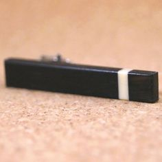 Tie Tack  African Gaboon Ebony with Ivory Accent tie clip by dfuss, (make great gator clips/ barettes for fine hair)