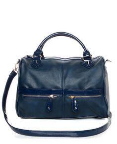 Cute Blue Handbag - Patent Handbag - Oversized Handbag - $40.00