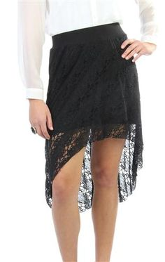 black lace high low skirt