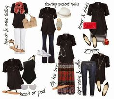 Carry On Couture: European Vacation - Black Tunic Outfits (inspiration for remixing what you have) Cruise Outfits, Capsule Outfits, Fashion Capsule, Capsule Wardrobe, Travel Outfits, Travel Fashion, Vacation Outfits, Work Outfits, Travel Style