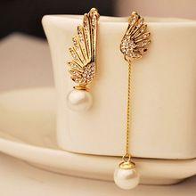 Asas do anjo do Vintage duplo pérola Brincos para mulheres brinco de cristal Rhinstone ouro Brincos Pendientes Bijoux(China (Mainland))