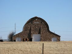 A great old stone barn on Highway 177 between Ponca City and Stillwater, Oklahoma. It was built in 1941