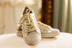 These bridal sneakers though! They are blinged out for sure! This wedding took place at Little Gardens in Lawrenceville, Georgia! Lawrenceville Georgia, Glass French Doors, Little Gardens, Outdoor Ceremony, Wedding Shoes, Bling, Bridal, Sneakers, Style