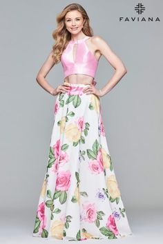 218fda1f3930f Style 10047 from Faviana is a 2 piece prom gown that has a Mikado high  keyhole. French Novelty
