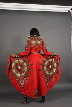 Holiday Quick ship Sale Red African print dress Jacket by RAHYMA