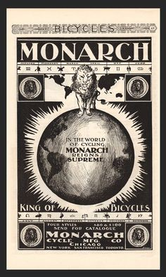 Antique 1896 Monarch Bicycles AD Fierce LION Graphic Arts Illustration Magazine Advertisement Earth Globe King of Bicycles Advertisement