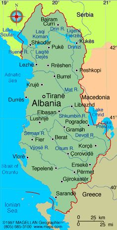 Map of Albania. Languages: Albanian (Tosk is the official dialect), Greek Ethnicity/race: Albanian Greeks other Vlachs, Gypsies, Serbs, and Bulgarians est. Albania Beach, Visit Albania, Albania Travel, Montenegro, Albanian Language, Albanian Culture, Republic Of Macedonia, Slovenia, Places To Travel