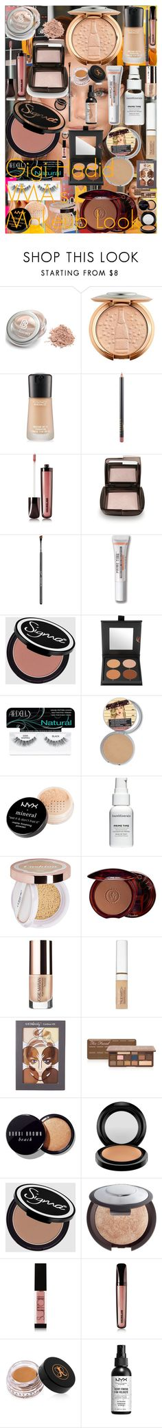 """Gigi Hadid VMA's Makeup Look"" by oroartye-1 on Polyvore featuring beauty, MAC Cosmetics, Hourglass Cosmetics, Sigma, Bare Escentuals, Cover FX, Ardell, NYX, Lumi and Guerlain"