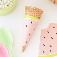 Free Printable Watermelon Icecream Cone Wrappers - Perfect for summer or fruit-themed parties!
