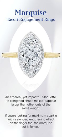 """An ethereal, yet impactful silhouette, the oblong shape of a marquise-cut diamond is flattering yet distinctive. If you're looking for maximum sparkle with a slender, lengthening effect on the finger too, this diamond cut is """"the one"""" for you! #marquise #MarquiseRing #EngagementRing #EngagementRingInspo #DreamRing #Tacori #TacoriRing Marquise Ring, Marquise Cut Diamond, Diamond Cuts, Tacori Rings, Tacori Engagement Rings, Dream Ring, Ethereal, Are You The One, Finger"""