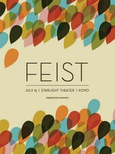 Feist Concert Poster at The Starlight Theatre- Kansas City Jul 2008 hand made silkscreen print on nice heavy paper poster measures 18 inches x 24 inches hand signed & numbered edition of 400 artist: Dan Padavic Rock Posters, Band Posters, Concert Posters, Music Posters, Concert Tickets, Lettering, Typography Design, E Online, Art Graphique