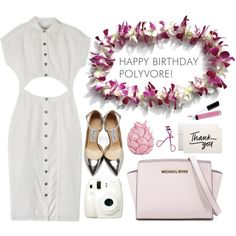 Happy Birthday Polyvore! by olka-dot on Polyvore featuring Wren, Jimmy Choo, MICHAEL Michael Kors, Bare Escentuals, H&M, Zara Home, Fuji, contestentry and happybirthdaypolyvore