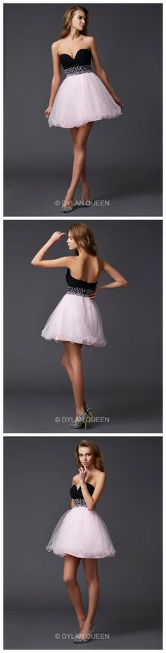 A-Line Sweetheart Beading Sleeveless  Mini Elastic Woven Satin Homecoming Prom Dress.