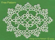 Iris Tatting: Free Pattern 3 - Doily - pattern diagram by Iris Niebach #tatting #lace #doily