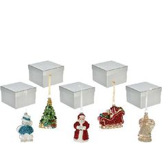 Set of 5 Mercury Glass Ornaments with Gift Boxes by Valerie