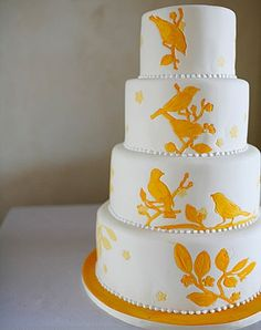 This is just lovely, yellow bird wedding cake.