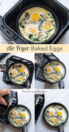 Best Air Fried Baked Eggs Recipe in Air Fryer KETO brunch. Keto air fried baked eggs in air fryer is quick easy paleo egg cups egg muffins with spinach Air Fryer Oven Recipes, Air Frier Recipes, Air Fryer Dinner Recipes, Best Brunch Recipes, Mexican Breakfast Recipes, Airfryer Breakfast Recipes, Air Fryer Recipes Breakfast, Favorite Recipes, Baked Egg Cups