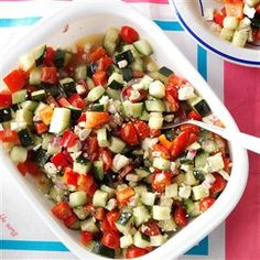 Garden Cucumber Salad Recipe -If you like cucumber salad like I do, this one's a cool pick. It's a mix of fresh veggies, feta and Greek seasoning and so refreshing when the sun's beating down. —Katie Stanczak, Hoover, Alabama