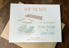 Destination Beach Wedding Save the Dates by NOTESbyredletter