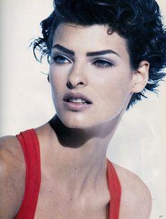 Vogue Italia April 1990 Donna Di Oggi Model: Linda Evangelista Ph: Peter Linbergh Stylist: Carlyne Cerf De Dudzeele Hair: Julian D'Is Make-up: Stephane Marais